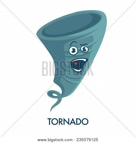 Tornado Icon With Crazy Face And Open Mouth. Natural Disaster Caused By Precipitation. Weather Forec