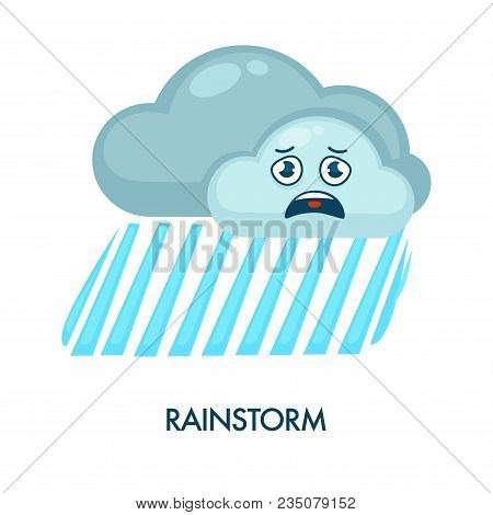 Rainstorm Symbol With Dark Clouds With Frustrated Facial Expression And Heavy Rain. Weather Forecast