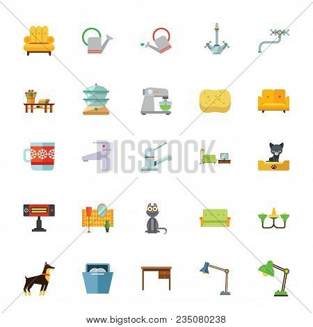 Icon Set Of Household Equipment. Design, Furniture, Home. Domestic Life Symbols Concept. For Topics