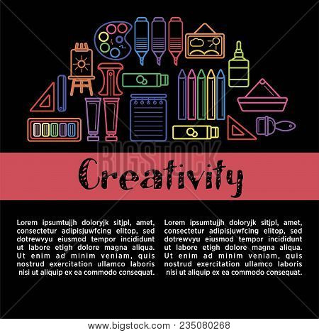 Kids Creativity Poster Of Art And Drawing Tools For Children Creative Design Education. Vector Paint