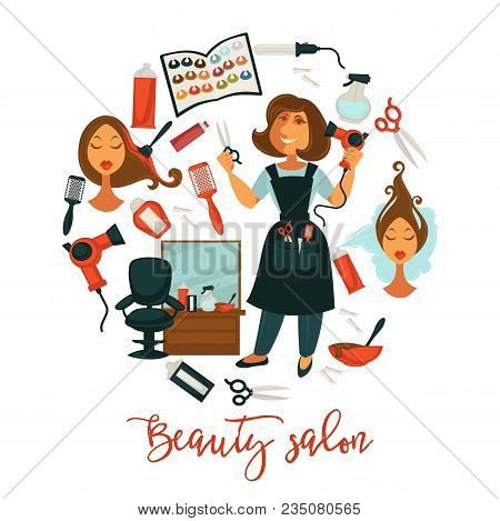 Hair Beauty Or Woman Hairdresser Salon Poster For Professional Hair Dyeing, Haircut And Perm Styling