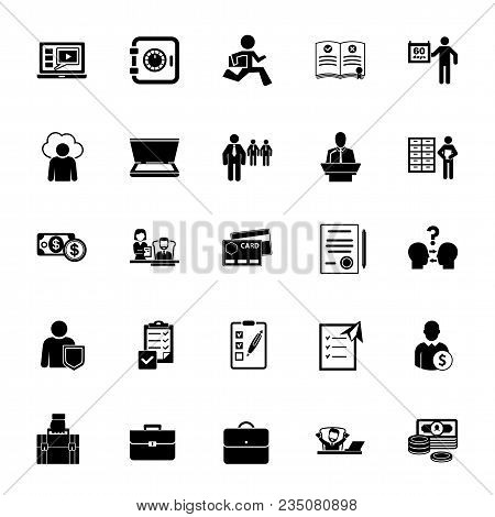 Icon Set Of Business Activities. Working Day, Business Process, Working Routine. Management Concept.
