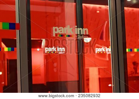 Leuven, Belgium - September 05, 2014: Details Of The Night View Of The Entrance To The Hotel Park In