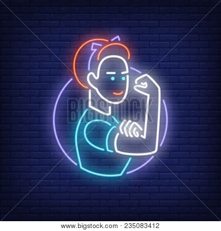 Woman Showing Bicep Neon Decoration. Neon Sign, Night Bright Advertisement, Colorful Signboard, Ligh