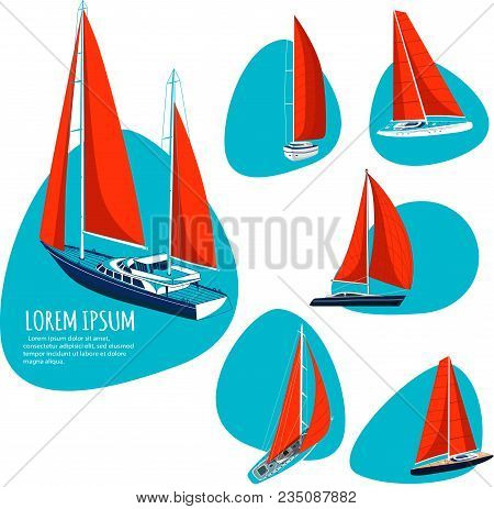Yacht Club Stickers With Sail Boat. Luxury Yacht Race, Sea Sailing Regatta Badge Vector Illustration