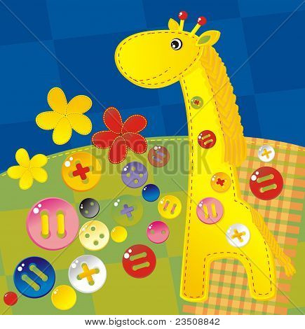 homemade textile applique with buttons - a cheerful giraffe poster