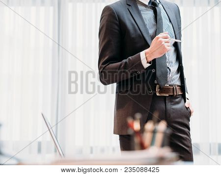 Corporate Manager. Company Ceo. Profession Job Concept. Successful Business Man Standing In Light Of