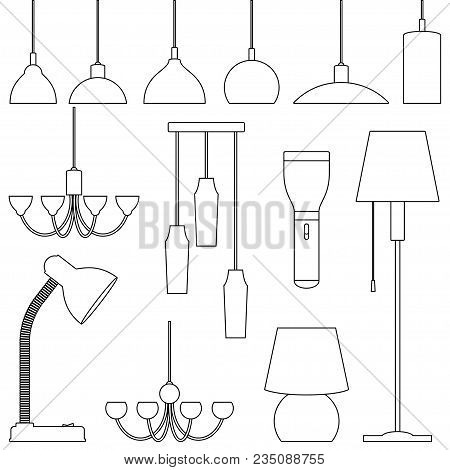 Lamps Of Different Types, Set. Chandeliers, Lamps, Bulbs, Table Lamp, Flashlight, Floor Lamp - Eleme