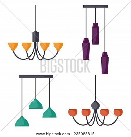 Hanging Lamps, Set. Chandeliers, Lamps, Bulbs - Elements Of Modern Interior. Vector Illustration, Is