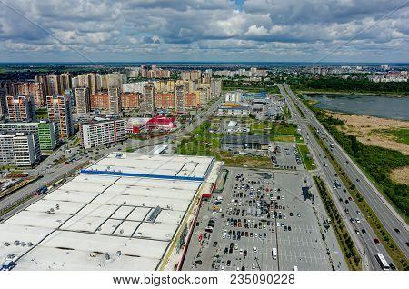 Tyumen, Russia - June 13, 2017: Aerial View Onto Zeleniy Bereg Shopping Center And European Resident