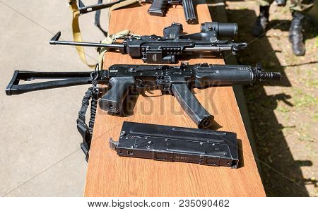 Samara, Russia - May 27, 2017: Russian Firearms. Samples Of Russian Small Arms For Special Forces