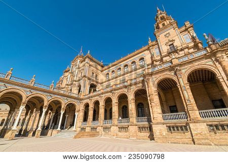 A Close Up Of The Main Building At Plaza De Espana In Seville, Spain