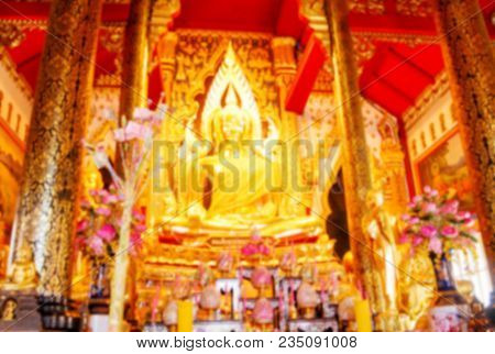 Beautiful Golden Buddha Statue In Position Sitting Inside Buddhist Sanctuary, The Place For Making M