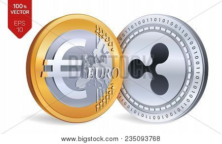 Ripple. Euro. 3d Isometric Physical Coins. Digital Currency. Cryptocurrency. Golden And Silver Coins