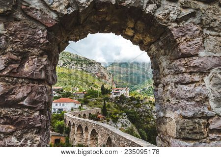 Rocks, Ancient Stone Aqueduct And Fortress Wall Of Old Bar Town, Montenegro. Stari Bar - Ruined Medi