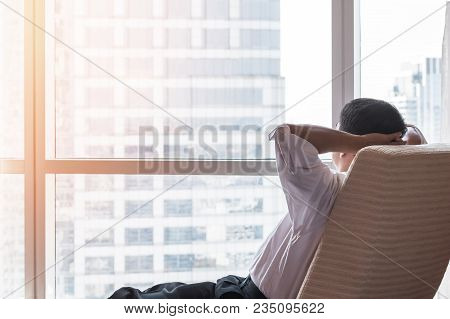 Life-work Balance And City Living Life Style Concept Of Business Man Relaxing, Take It Easy At Work
