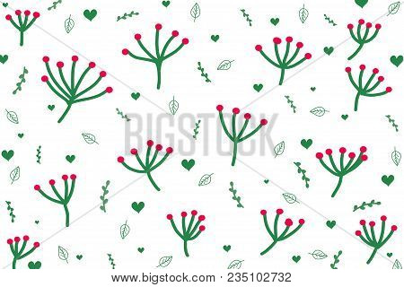 Cute green botanicals and heart shape pattern on white background. Beautiful botanicals pattern in abstract style by doodle art hand drawing illustration raster. Concept about environment and plants and botanicals for background or wallpaper. poster