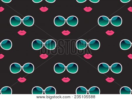 Summer Seamless Pattern With Glasses And Lips. Print For Fabric, Wrapping Paper, Banner, Beauty, Acc