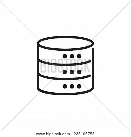 Icon Of Cylindrical Database. Server Disc, Computing, Information. Data Concept. Can Be Used For Top