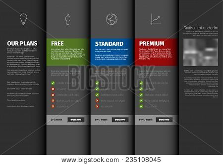 Product Service Pricing Comparison Table Template With Description - Dark Version