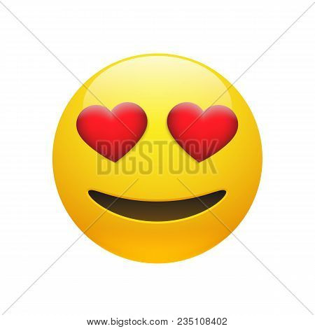 Vector Emoji Yellow Stupid Smiley Face With Red Heart Eyes And Mouth On White Background. Funny Cart