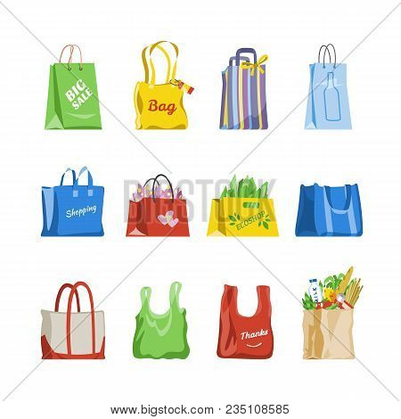 Shopping Bag Vector Shop Paper-bag And Baggy Package For Gift Or Sale Purchase From Fashion Store Il