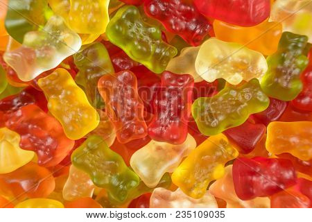 Colourful Jelly Babies / Gummy Bear Candy Sweets. Potential Use As A Background.