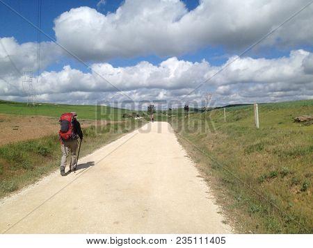 Pilgrim On The Santiago De Compostella Way Near Rabé De Las Calzadas, Castille And Leon, Spain