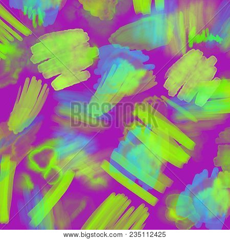 Abstract Neon Geometrical 80s And 90s Hand Draw Glamour Pattern With Neons Colors. Neon Watercolor B