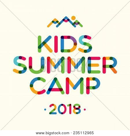 Kids Summer Camp 2018 Banner For Holiday Party, Kids Camping, Fest. Vector Illustration 10 Eps
