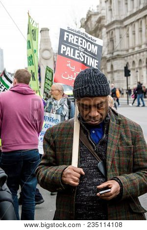 London, United Kingdom, 7st April 2018:- Protesters Gather Outside Downing Street In London To Prote