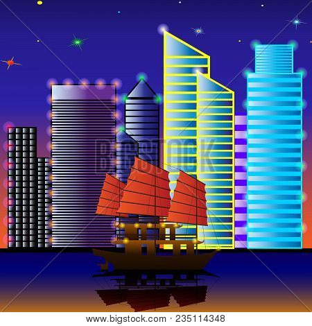 Sailing Ship Sails Through The Water On The Background Of Night City. Vector Illustration