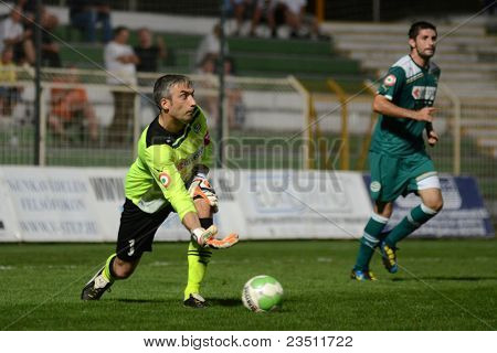 KAPOSVAR, HUNGARY - SEPTEMBER 10: Sasa Stevanovic (goalkeeper) in action at a Hungarian National Championship soccer game - Kaposvar (white) vs Gyor (green) on September 10, 2011 in Kaposvar, Hungary.