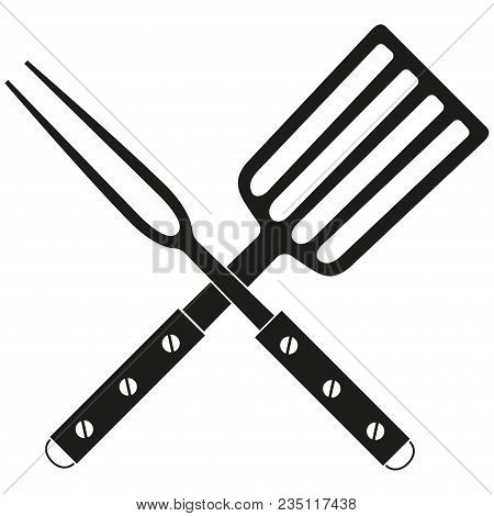 Bbq Fork Spatula Cross Wooden Handle Silhouette. Outdoors Cooking Vector Illustration For Gift Card