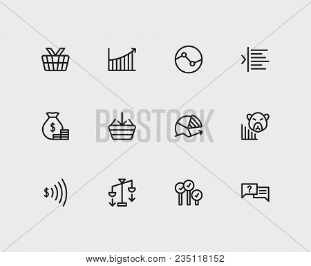Finance Trading Icons Set. Stock Sector And Finance Trading Icons With Going Long, Ask And Yield. Se