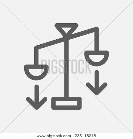 Averaging Down Icon Line Symbol. Isolated Vector Illustration Of  Icon Sign Concept For Your Web Sit