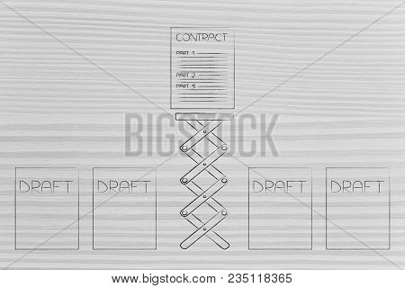 From Draft To Final Contract Conceptual Illustration: Sheets With Only One On A Spring