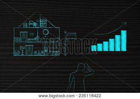 Real Estate Prices And Market Trends Conceptual Illustration: House With Rent Price Stats Going Up A