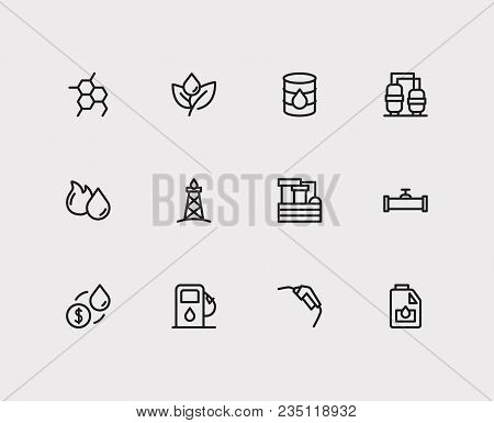 Petrol Icons Set. Oil Gas Plant And Petrol Icons With Oil Industry Market, Oil Barrel And Engine Oil