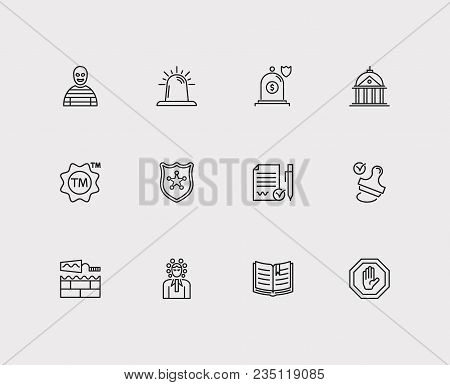 Crime And Justice Icon Line Set With Building, Stamp And Court. Set Of Justice Icons Including Decis