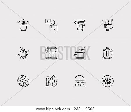 Cafe Icons Set. Stovetop Espresso And Cafe Icons With Coffee Machine, Coffee Maker And Donut. Set Of