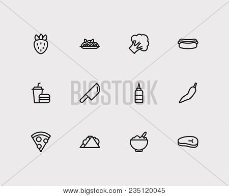 Nutrition Icons Set. Sandwich And Nutrition Icons With Pizza, Cereal And Meat Beef. Set Of Elements