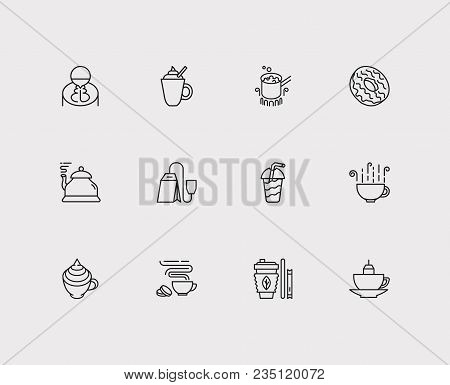 Coffee Icons Set. Stovetop Espresso And Coffee Icons With Coffee With Cream, Tea Kettle And Teabag.