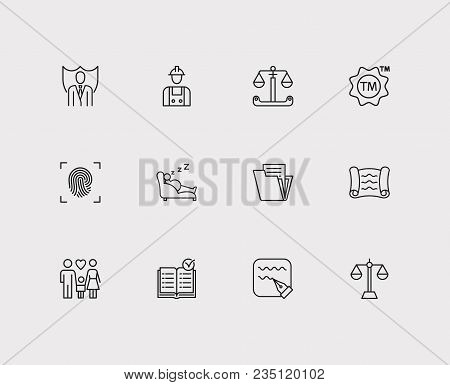 Legal Icons Set. Document And Legal Icons With Family, Fingerprint And Scroll. Set Of Elements Inclu