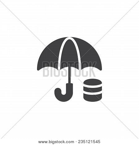 Money Under Umbrella Vector Icon. Filled Flat Sign For Mobile Concept And Web Design. Financial Savi