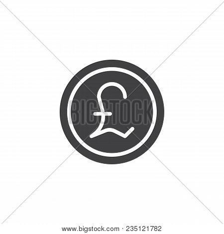 Pound Coin Vector Icon. Filled Flat Sign For Mobile Concept And Web Design. Coin Cash Money Simple S