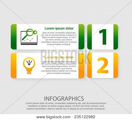 Modern Vector Illustration 3D. An Infographic Template With Two Steps And An Image Of Five Rectangle