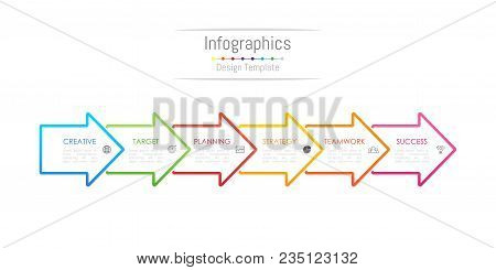 Infographic Design Elements For Your Business Data With 6 Options, Parts, Steps, Timelines Or Proces