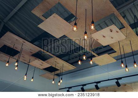 Interior Design Of Modern Restaurant Ceiling. Steam-punk, Pop-art, High-tech, Loft Style Design