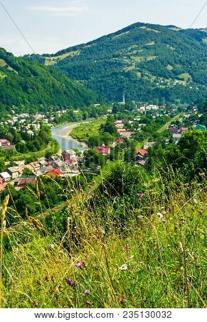 Rakhiv Town In Summer View From The Hill. Beautiful Scenery In Carpathian Mountains. Tisza River Win